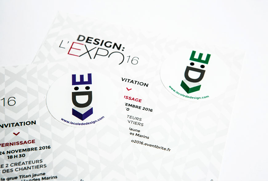 invitation au vernissage avec sticker pour Design L'Expo 2016